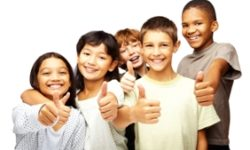 Happy children with thumbs up over white background